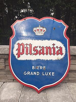 French Enamel Beer Advertising Sign (Pilsania)//Antique//Vintage