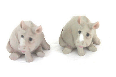 PAIR of PETE ANSET COLLECTIBLE RHINO FIGURES HOLY HERD NOAHS ARK CERAMIC J3