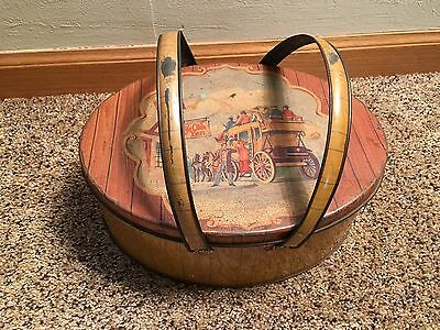 Vintage Oval Metal Lunch Box W/ Wicker Print Stagecoach Top 2 Handles