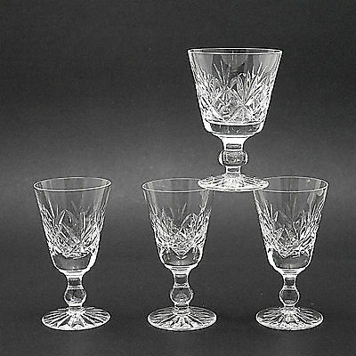 Four Stuart Crystal 'Ludlow' Pattern Glasses - One Sherry & Three Liqueur