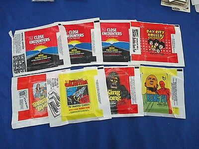 1970's Wax Pack 8 Wrapper Lot: Close Encounters, King Kong & More !!!
