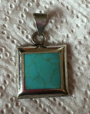 Vintage Sterling Silver/Turquoise Pendant Signed ATI