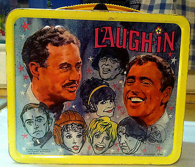 "1968 LAUGH-IN METAL LUNCH BOX & THERMOS BOTTLE with Arte ""Nazi"" Johnson Artwork!"