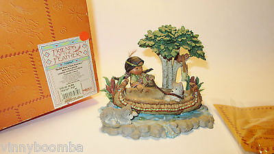 Friends Of The Feather Boy In The Canoe With Wolf Puppies Lmt Ed. Enesco 2000 !!