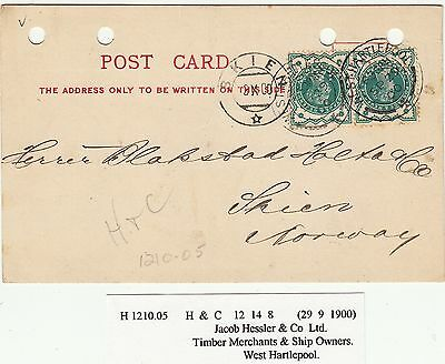 Victoria 1887 Jubilee SG213 1/2d Green CDS on Cover (card) Used - Perfin