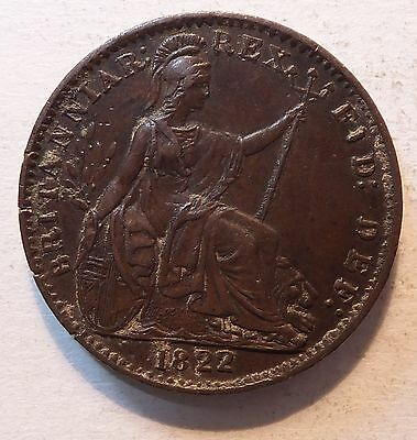 1822 George Iv Farthing Nice Grade Coin  (4884)