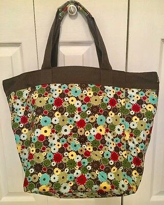 Thirty-One 31 Large Canvas Shopping Tote Bag Retired Windsor Bouquet Pattern
