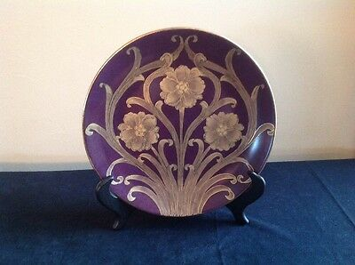 """Accessory Accent 10"""" Deep Purple & Gold Floral Plate"""