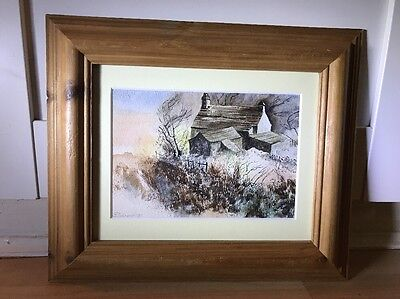 Lovely Signed Watercolour Painting Of Stormy Scene In Wood Frame