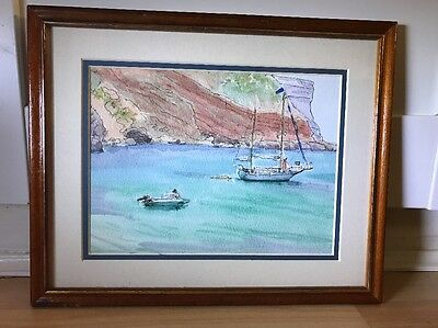 Lovely Watercolour Painting Of Coastal Scene In Wood Frame