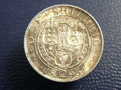 1895 Queen Victoria - SILVER SHILLING COIN - Old Veiled Head - Good Detail
