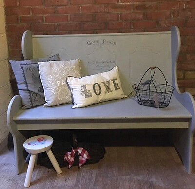 French Theme Vintage Rustic Shabby Chic Painted Pew Settle Bench & Cushion #1015