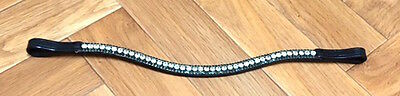 NEW BLING!*Leather Sparkly Browband*3-Rows Crystals*Dressage Teal Green/Clear