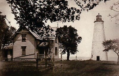 Marblehead Lighthouse Bay Point Ohio, OH Light, Great Lakes, House --- Postcard