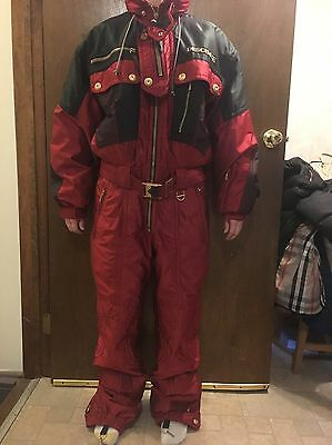 DESCENTE Red Snow Ski SnowBoard Jump Suit 1 One Piece Mens size LARGE