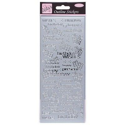 Anita's Silver Peel Offs Outline Special Happy Birthday Wishes Stickers (C13)