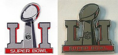 Super Bowl 51 Patch & Collectible Pin Set Embroidered Superbowl Li Championship