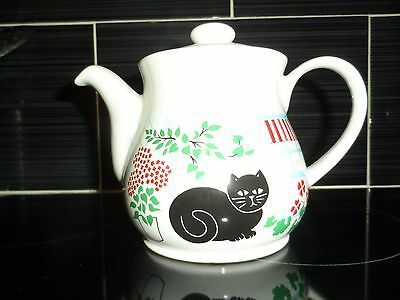 Sadler England Black Cat Pattern 2 Pint Teapot & Lid