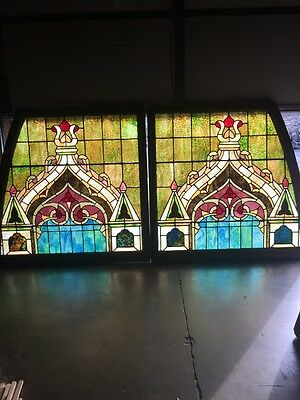 Lilly #6 Matched Pair Antique All Stainglass Gothic Design Window