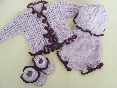 "Hand Knitted 4 Piece Frilly Set For A Baby Girl ~ Reborn 18-20"" Or Newborn"