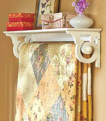Entryway White Quilt Rack Display Shelf Wall Mounted Blanket Hanger Country NEW