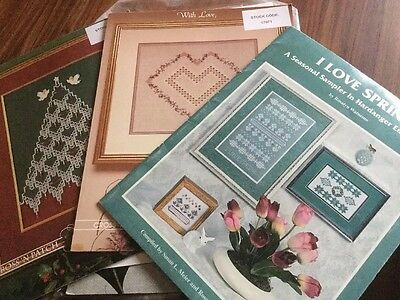 Bundle Of 3 Hardanger Charts By Emie Bishop For Cross N Patch & Rosalyn Watnemo