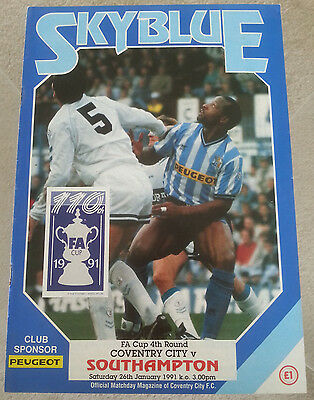Coventry City v Southampton FA Cup 4th Round 1990 - 1991