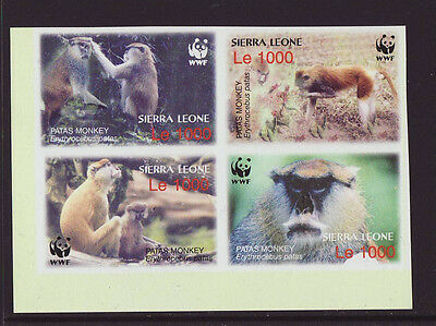 Sierre Leone 2004 MNH - Monkeys - WWF - block of 4 imperforeted stamps