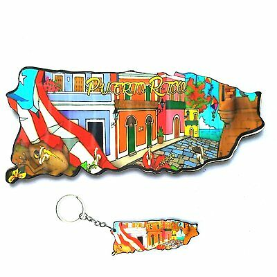 LOT OF 1 Puerto Rico Souvenir Home Wall Keychain HOLDER & 1 Key holder Rican #1