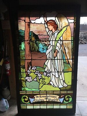 Lilly # 8 Antique 6 Foot Drapery Glass Winged Angel Landing Window