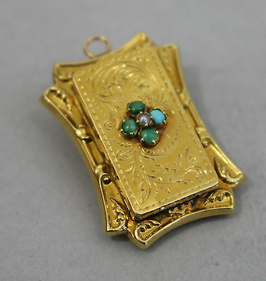 Antique Victorian 18K Yellow Gold Pearl Turquoise Pendant Vinaigrette