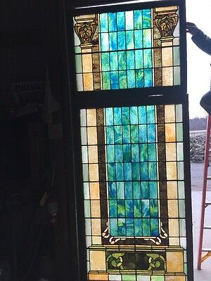 "Lilly # 10 Amazing Colorful Antique Landing Window 44 X 111"" High"