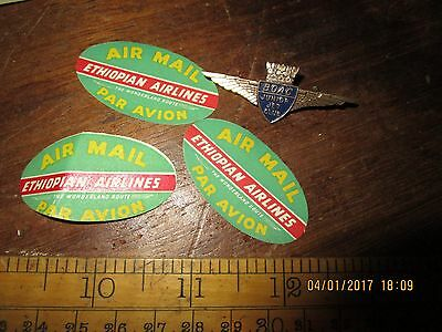 3 Vintage Ethiopian Airlines Air Mail Labels and BOAC Junior Jet Club badge