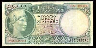 bucksless 1791:SCARCE GREECE 20000 DRS 1947 CRISP VF WITH SECURITY STRIP, P-179b