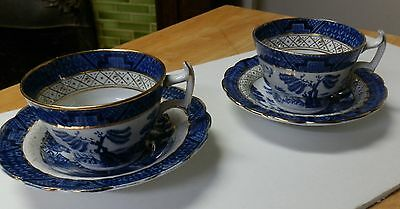 2 Vintage Booths Real Old Willow Cup&saucer Sets.england Dinnerware.blue&white