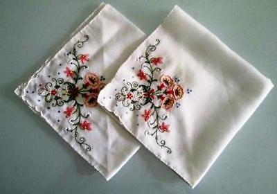 RETRO as NEW 2 X VINTAGE WHITE  COLOURED EMBROIDERED FLORAL SPRAYS  HANDKERCHIEF