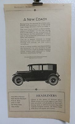 Vintage 1925 Dodge Brothers Coach Advertising Print Ad. Cars Auto's.