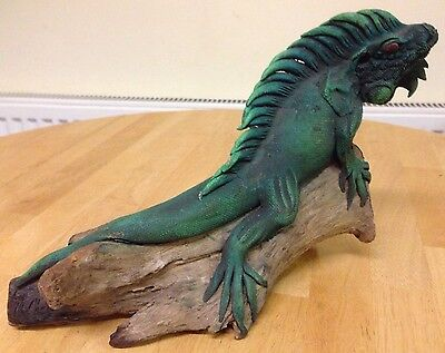 "Carved Wood Beautiful Green Iguana - approx. 14"", Teak, Northern Thailand"