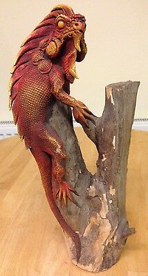 "Carved Wood Beautiful Red Iguana (Teak - Approx. 15"") - from Northern Thailand"