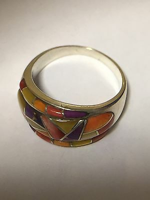 Sterling Silver 925 Navajo Multy Colored Oyster Shell Ring