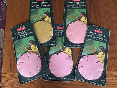 Vintage 70s Rubbermaid BATHTUB APPLIQUES 4 Pink 1 Gold Sealed Packaging