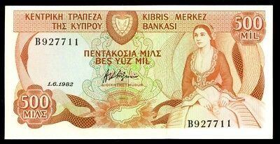 bucksless 1792: CENTRAL BANK  OF CYPRUS GEM UNC  500 MILS 1982, UK, GREECE