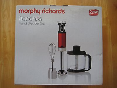 Morphy Richards Accents Hand Blender Set – Cherry Red - Bargain Price!