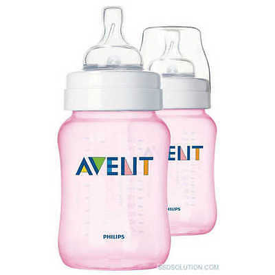 NEW Philips Avent 2-Pack Bottle 260ml - Pink