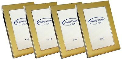 "4 x Gold/Silver Metal Photo Frame 4"" x 6"""