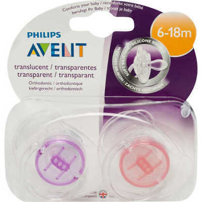 NEW Philips Avent Translucent Orthodontic Soothers 2 Pack