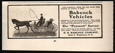 Vintage 1902 Babcock Carriage Vehicle ad Prescott Surrey Wagon