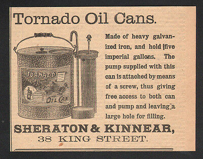 Vintage 1893 Canadian 5 gallon Tornado Oil Can ad advertisement