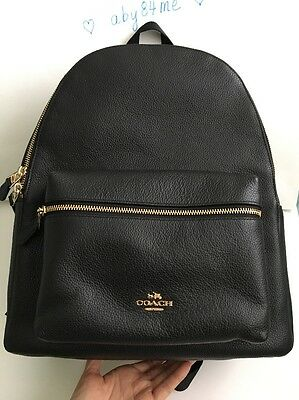 *NWT* Coach Pebble Leather Charlie Backpack Large F38288 Black