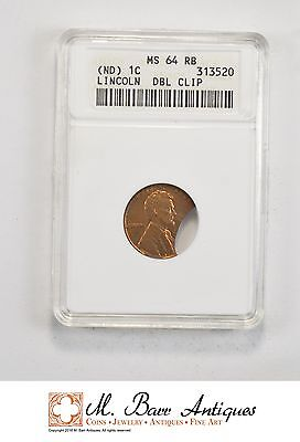 MS64 RB No Date Lincoln Cent Double Clip Planchet - Graded ANACS *635